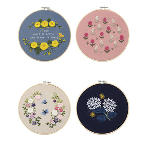 DIY Embroidery Starter Kit Pre Printed Needlework Flower Pattern Color Threads with Embroidery Hoop TUE88