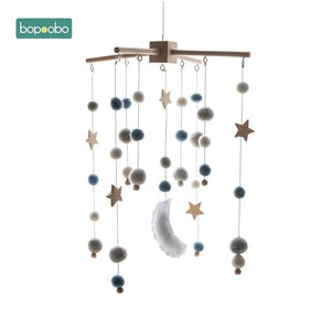 Bopoobo 1 set Silicone Beads Baby Mobile Beech Wood Bird Rattles Wool Balls Kid Room Bed Hanging Decor Nursing Children Products