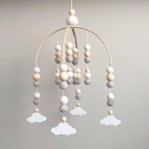 INS Nordic Wooden Beads Wind Chimes For Kids Room Decoration Ornament Wool Balls Baby Tent Bed Windbell Nursery Hanging Pendant