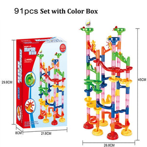 29/80/105pcs Marble Run Building Blocks Funnel Slide Bricks Toys For Children Kids labyrint Rolling Ball Toys Educational Toys