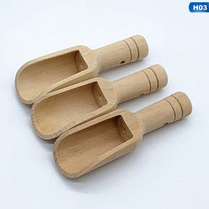 3pcs Mini Wooden Scoops Bath Salt Spoon Candy Flour Spoon Scoops Kitchen Utensils - 2.3x7.6cm 2.5x8.1cm 3x7.8cm