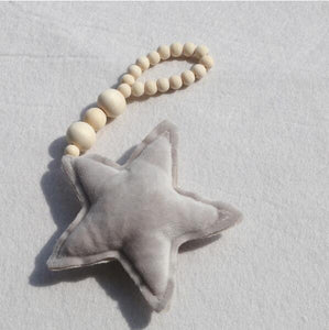 Nordic Wooden Beads Ornament Double Star Moon Kids Room Decoration Baby Crib Tent Hanging Pendant Wall Decor Photography Props