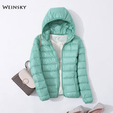 Load image into Gallery viewer, Spring Autumn Women Ultralight Thin Down Jacket White Duck Down Hooded Jackets Warm Winter Coat Parka Female Portable Outwear