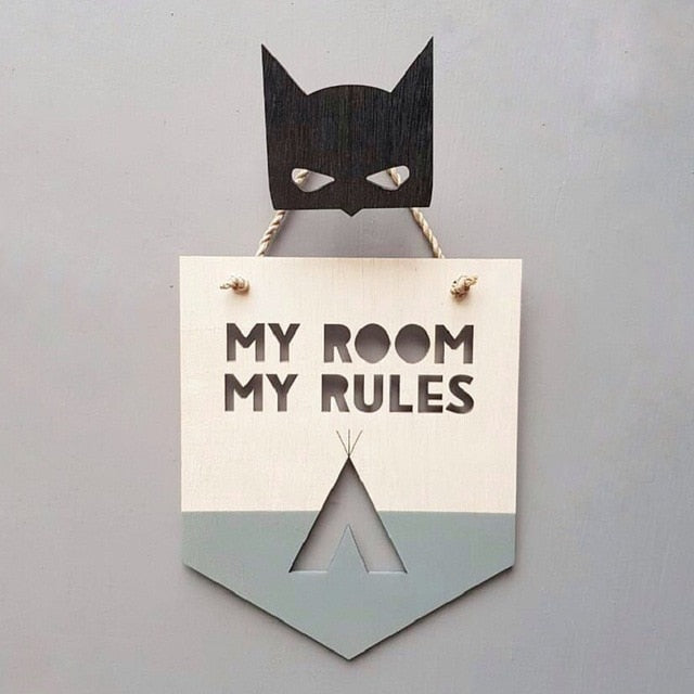 Ins Nordic wood chip pendant  MY ROOM MY RULES  children's room wall decoration pendant shooting props