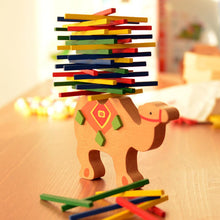 Load image into Gallery viewer, Wooden Elephant Camel Animal Balancing Stack Colorful Block Development Kids Toy