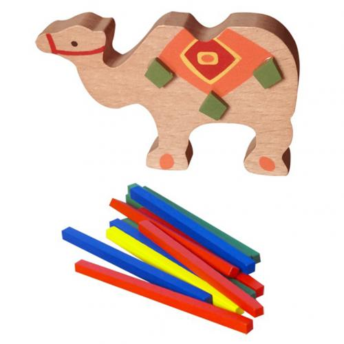 Wooden Elephant Camel Animal Balancing Stack Colorful Block Development Kids Toy
