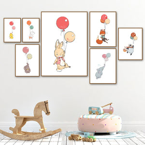 Rabbit Elephant Fox Bear Color Balloon Animal Nordic Wall Art Painting Children's Room Decoration posters canvas painting M472