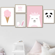 Load image into Gallery viewer, Nordic Style Prints Canvas Paintings Home Decor Rabbit Wall Art Modular Bear Pictures Cartoon Watercolor Poster For Kids Room