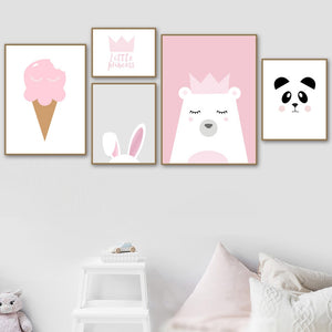 Nordic Style Prints Canvas Paintings Home Decor Rabbit Wall Art Modular Bear Pictures Cartoon Watercolor Poster For Kids Room