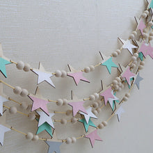 Load image into Gallery viewer, New Nordic Wooden Beads Stars Hanging Banners Girl Baby Room Wall Hanging Decorations Children's Room Fashion Soft Furnishings