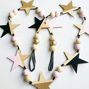 New Nordic Wooden Beads Stars Hanging Banners Girl Baby Room Wall Hanging Decorations Children's Room Fashion Soft Furnishings