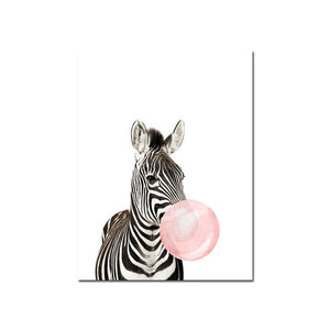 Baby Room Pink Bubble Giraffe Zebra Animal Poster Canvas Painting Wall Art Print Picture Nordic Nursery Kids Room Decoration