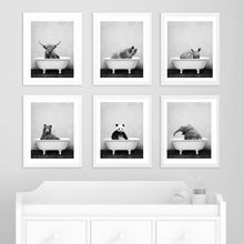 Load image into Gallery viewer, Baby Animal in Bathtub Toilet Poster Panda Giraffe Elephant Lion Canvas Painting Nursery Wall Art Nordic Picture Kid Room Decor