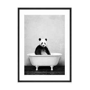 Baby Animal in Bathtub Toilet Poster Panda Giraffe Elephant Lion Canvas Painting Nursery Wall Art Nordic Picture Kid Room Decor