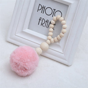 INS Nordic Wooden home decor Beads with Tassel Ball Garland Hanging Wall Ornament Kid's Room Decorations Nursery Baby Room