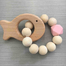 Load image into Gallery viewer, Nordic Wooden Beads Baby Bracelet Silicone Bead Newborn Stroller Hanging Toys Cute Photo Props Decoration Kids Teething Toy Gift