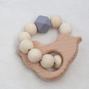 Nordic Wooden Beads Baby Bracelet Silicone Bead Newborn Stroller Hanging Toys Cute Photo Props Decoration Kids Teething Toy Gift