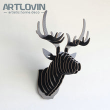 Load image into Gallery viewer, Free Shipping Nordic Wood Crafts DIY Deer Head Europe Characteristic House Decoration Miniature Animal Figurines for Home Decor