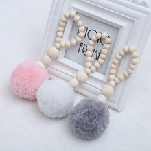 Load image into Gallery viewer, INS Nordic Wooden Beads with Tassel Ball Garland Hanging Wall Ornament Kid's Room Decorations Nursery Baby Room Photography Prop