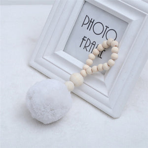 INS Nordic Wooden Beads with Tassel Ball Garland Hanging Wall Ornament Kid's Room Decorations Nursery Baby Room Photography Prop