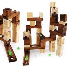 Load image into Gallery viewer, Brand Children Wooden Marble Runs Block Toy with Glass Beads Kids Building Construction Assemble Rail Blocks Educational Toy