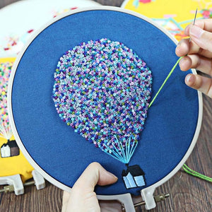 3D Embroidery Kits for Beginner,Needlework Cross Stitch Kit Embroidery Sets with Frame, Hot Air Balloon Swing Craft Home Decor