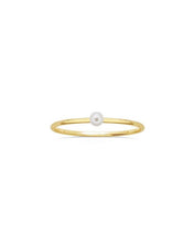 Load image into Gallery viewer, Solitary Pearl Gold Ring - White