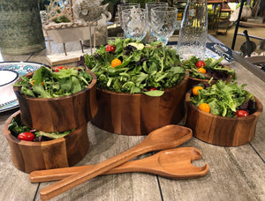 7 Piece - Large Salad Bowl with Servers and 4 Individuals