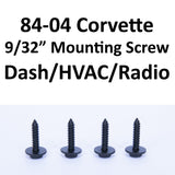 "1984-1996 Corvette Mounting screws (9/32"" or 7mm) for Digital Cluster, HVAC, etc"
