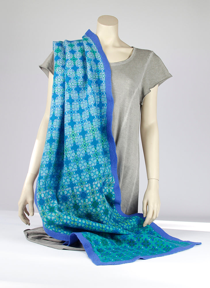 Silk with merino wool felted shawl Blip 200-022 - Ellen Bakker