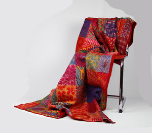 Silk with merino wool felted throw/wall hanging 500-025 - Ellen Bakker