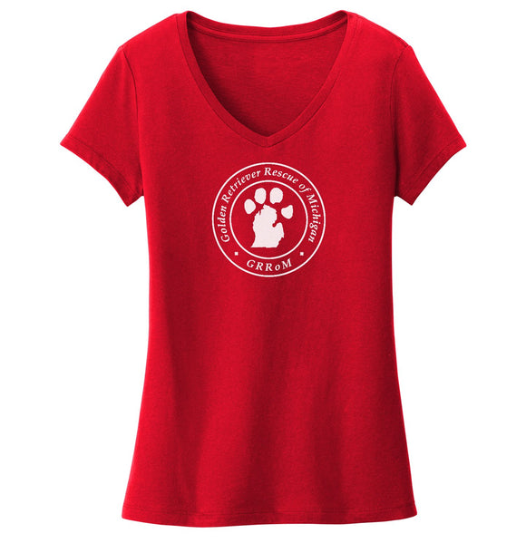 Golden Retriever Rescue of Michigan Logo - Full Front White - Ladies' V-Neck T-Shirt