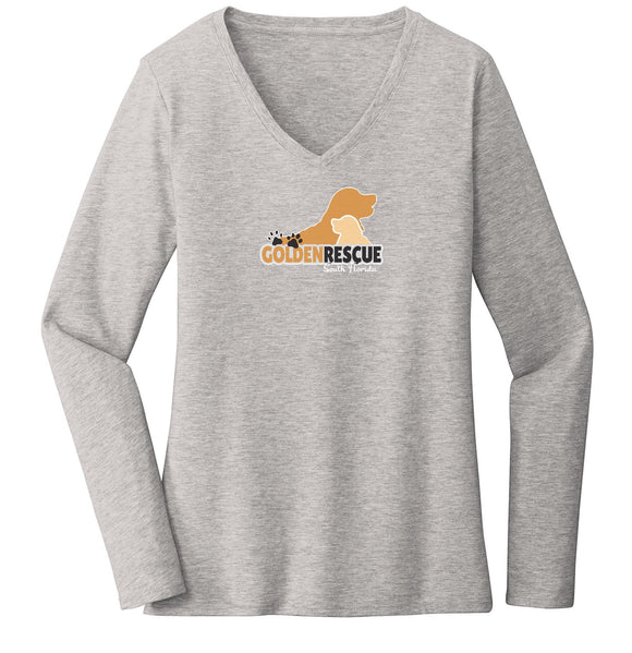 Golden Rescue of South Florida Logo - Ladies' V-Neck Long Sleeve T-Shirt