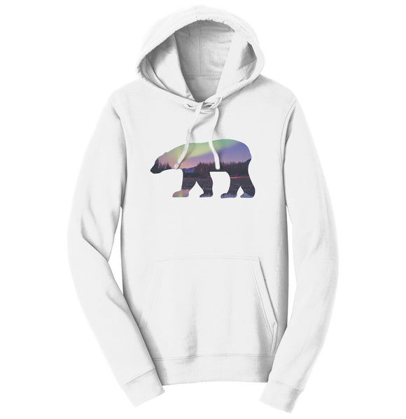 Northern Lights Polar Bear - Adult Unisex Hoodie Sweatshirt