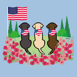 USA Flag Bandanas on Three Labs - Women's Fitted T-Shirt