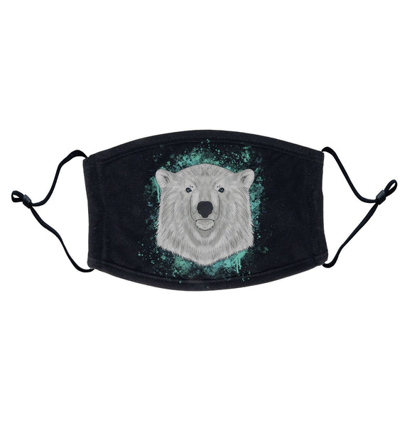 Polar Bear Blue Illustration Adult Adjustable Face Mask | NEW Zoo & Adventure Park