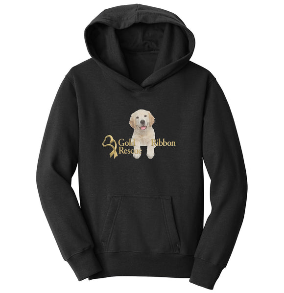 Gold Ribbon Rescue Puppy Logo - Youth Hoodie