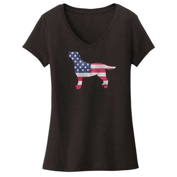 USA Flag Pattern Lab Silhouette - Women's V-Neck Shirt - WCLRR Online Store