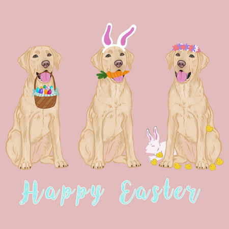 Easter Yellow Labrador Line Up - Women's Fitted T-Shirt