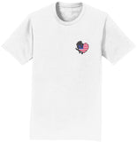 Black Lab USA Flag Heart Left Chest - Adult Unisex T-Shirt