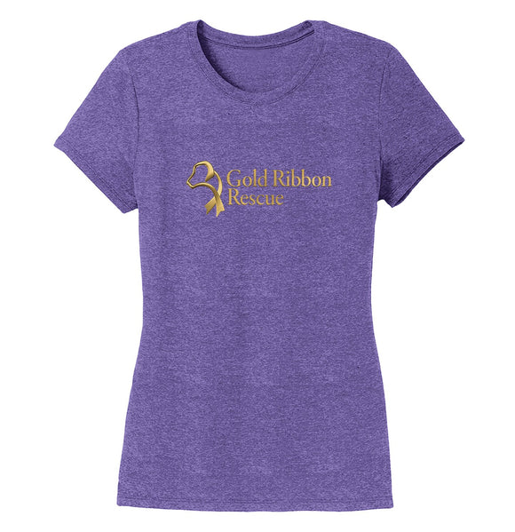 Gold Ribbon Rescue Logo - Ladies' Tri-Blend T-Shirt