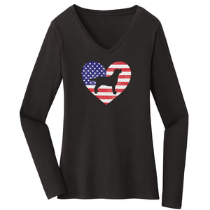 WCLRR - USA Flag Lab Silhouette - Women's V-Neck Long Sleeve T-Shirt
