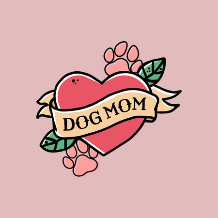 Dog Mom Heart - Pocket - Women's Fitted T-Shirt