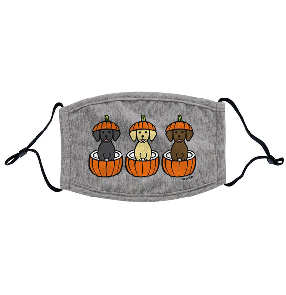 3 Pumpkin Lab Pups - Adult Adjustable Face Mask - Halloween