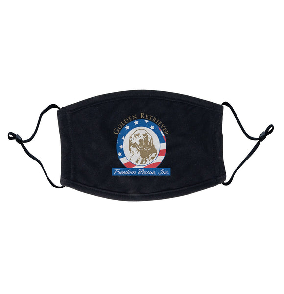Golden Retriever Freedom Rescue Logo - Full Front - Adjustable Face Mask
