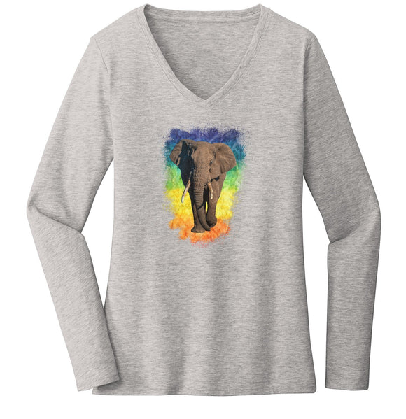 Elephant Rainbow - Women's V-Neck Long Sleeve T-Shirt | International Elephant Foundation