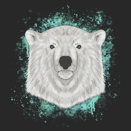 Polar Bear Blue Illustration - Adult Adjustable Face Mask
