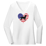 USA Flag Lab Silhouette - Women's V-Neck Long Sleeve T-Shirt