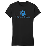 Parker Paws Blue Paw Print Logo - Women's Fitted T-Shirt