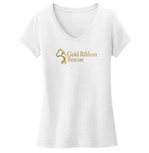 Gold Ribbon Rescue Logo - Ladies' V-Neck T-Shirt